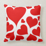 Red hearts on white love pillow