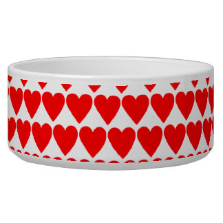 Red Hearts on White Pet Dish