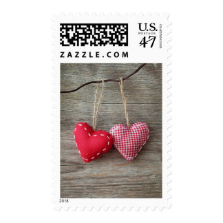 Red Hearts on Wooden Table 2 Postage