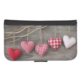 Red Hearts on Wooden Table Phone Wallet
