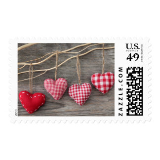 Red Hearts on Wooden Table Postage