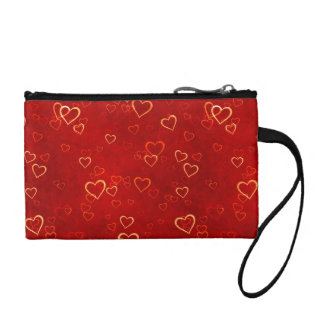 red hearts pattern coin wallets