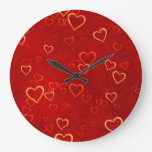 red hearts pattern clock