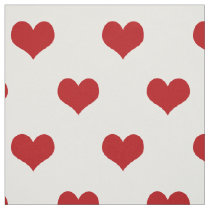 Red Hearts Pattern Fabric