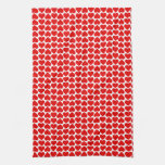 Red Hearts Pattern Kitchen Tea Towel