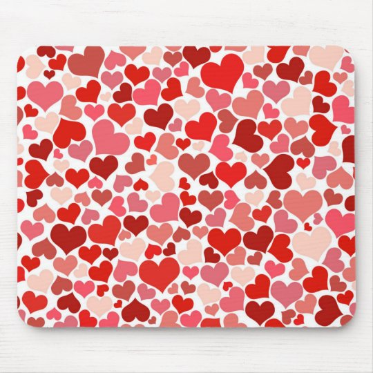 Red hearts pattern mouse pad