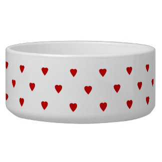 Red Hearts Pattern on a White Background. Bowl