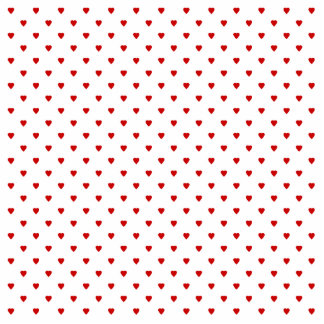Red Hearts Pattern on a White Background. Cutout