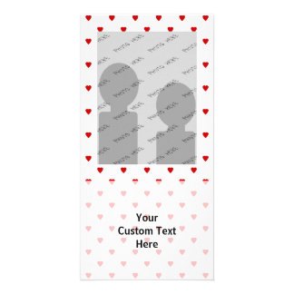 Red Hearts Pattern on a White Background. Photo Card