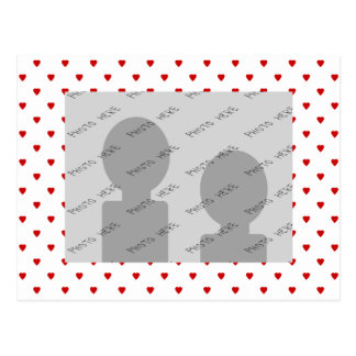 Red Hearts Pattern on a White Background. Postcard