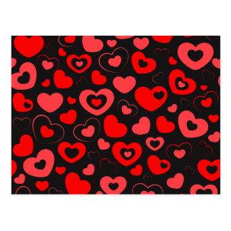 red hearts pattern on black background postcard