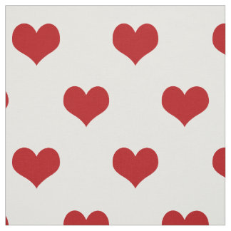 Red Hearts Pattern on White Fabric