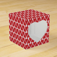 Red Hearts Pattern on White Favor Box
