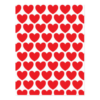 Red Hearts Pattern Postcard