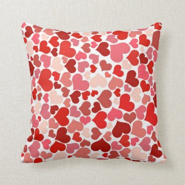 Red hearts pattern throw pillows