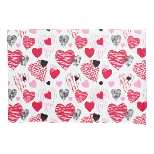 Red Hearts Pattern Valentine's Day Couples Pillow Case