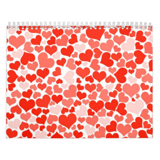 Red hearts pattern wallpaper calendar
