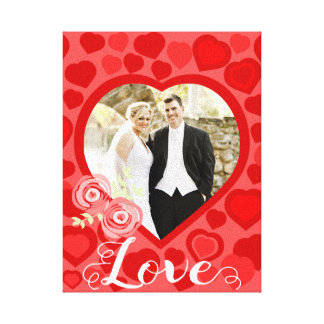 Red hearts patterned love canvas print