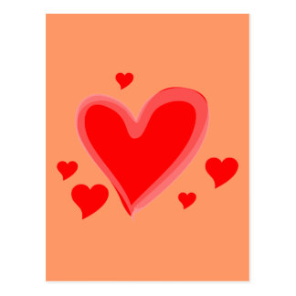 Red Hearts Peace Love Destiny Post Cards