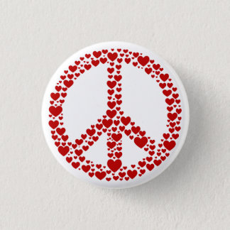 Red Hearts Peace Sign Button
