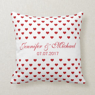 Red Hearts Personalized Names & Date Wedding Throw Pillow
