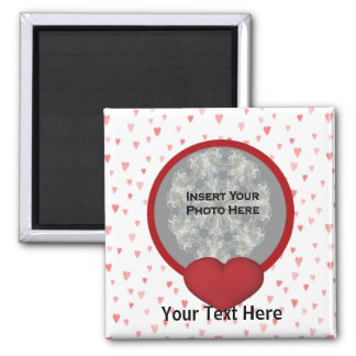 Red Hearts Photo Magnet