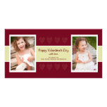 Red Hearts photo valentine card Customized Photo Card