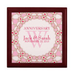 Red Hearts Pink Lace Wedding Anniversary Gift Box