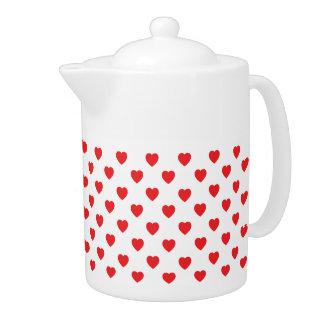 Red Hearts Polka Dot Pattern Teapot