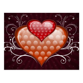 Red hearts post cards