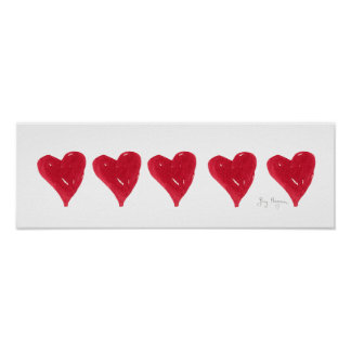 Red Hearts Posters & Prints