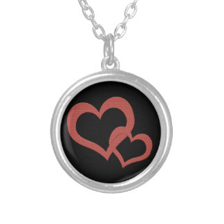 Red hearts related silver plated necklace