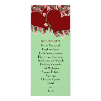 Red Hearts Romantic Roses Green Wedding Menu Invitations