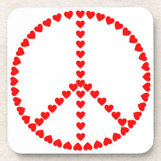 Red Hearts Round Peace Sign Coaster