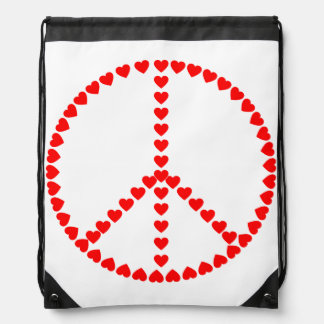 Red Hearts Round Peace Sign Drawstring Backpack