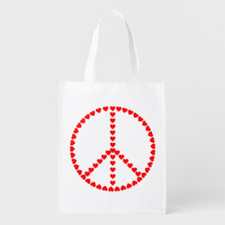 Red Hearts Round Peace Sign Grocery Bag