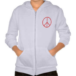 Red Hearts Round Peace Sign Hooded Sweatshirt