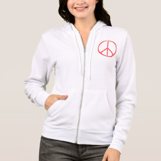 Red Hearts Round Peace Sign Hoodie