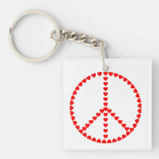 Red Hearts Round Peace Sign Keychain