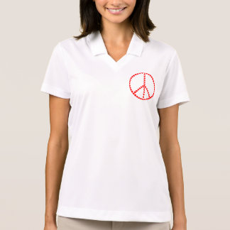 Red Hearts Round Peace Sign Polo Shirt