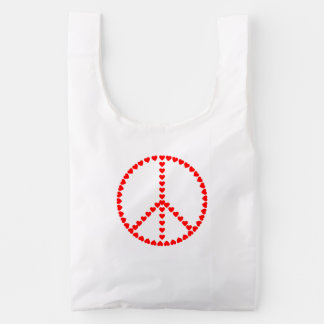 Red Hearts Round Peace Sign Reusable Bag
