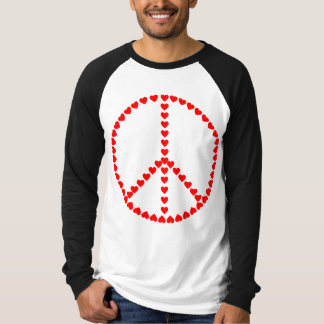 Red Hearts Round Peace Sign Tee Shirt