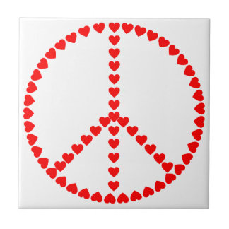 Red Hearts Round Peace Sign Tile