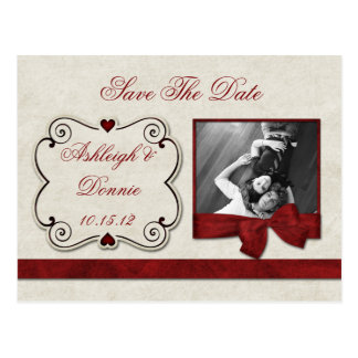 Red Hearts Scrolls Ribbon Photo Save The Date Postcard
