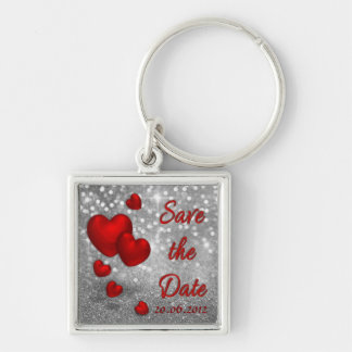 Red Hearts Silver Glitter Save the Date Keychain