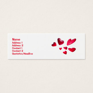 Red Hearts - Skinny Mini Business Card