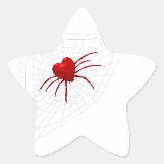 Red Hearts Spider Star Sticker