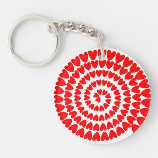 red hearts spiral keychain