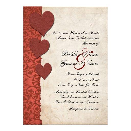 Red Hearts Torn Paper Wedding Invitation 5 X 7 Invitation Card