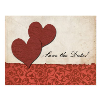Red Hearts Torn Paper Wedding Save The Date Postcard